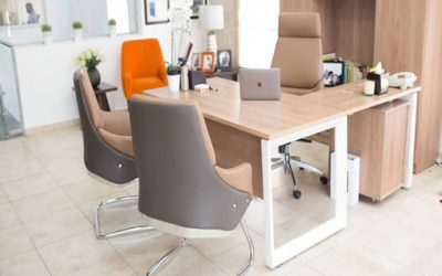Executive office table with metal legs
